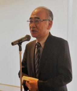 2018年2月総会で挨拶する五十嵐秀彦会長