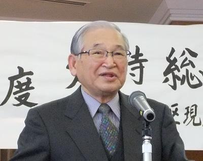 平成30年度定時総会で挨拶する吉村春風子新会長